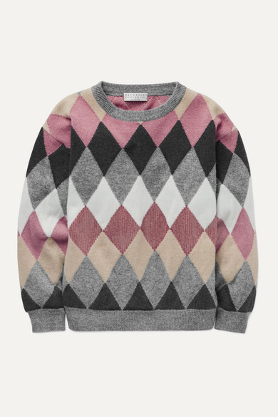 Brunello Cucinelli Ages 4 - 6 sequin-embellished argyle wool-blend sweater