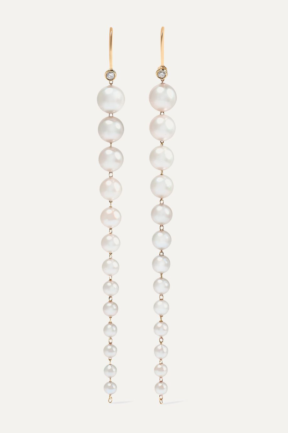 Mizuki 14K 黄金、珍珠、钻石耳环