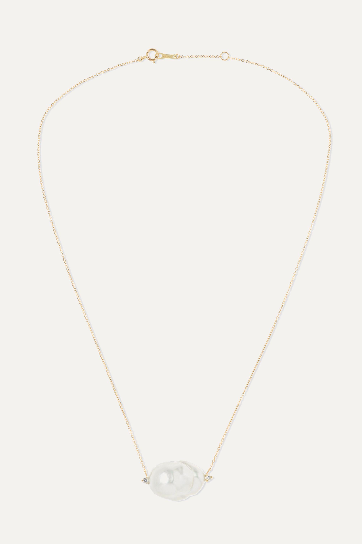 Mizuki 14-karat gold, pearl and diamond necklace