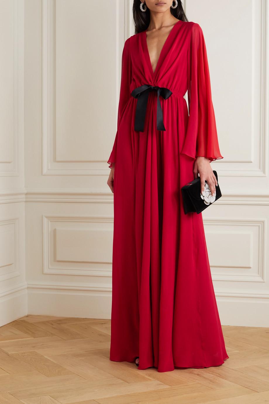 Giambattista Valli Bow-detailed ruched silk-georgette maxi dress