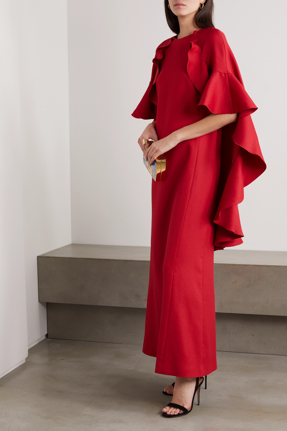 Giambattista Valli Cape-effect ruffled cotton-blend crepe gown