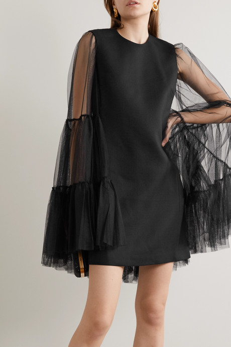 Cape-effect crepe and cotton-blend tulle mini dress