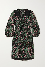 Giambattista Valli Pussy-bow lace-trimmed floral-print silk crepe de chine mini dress