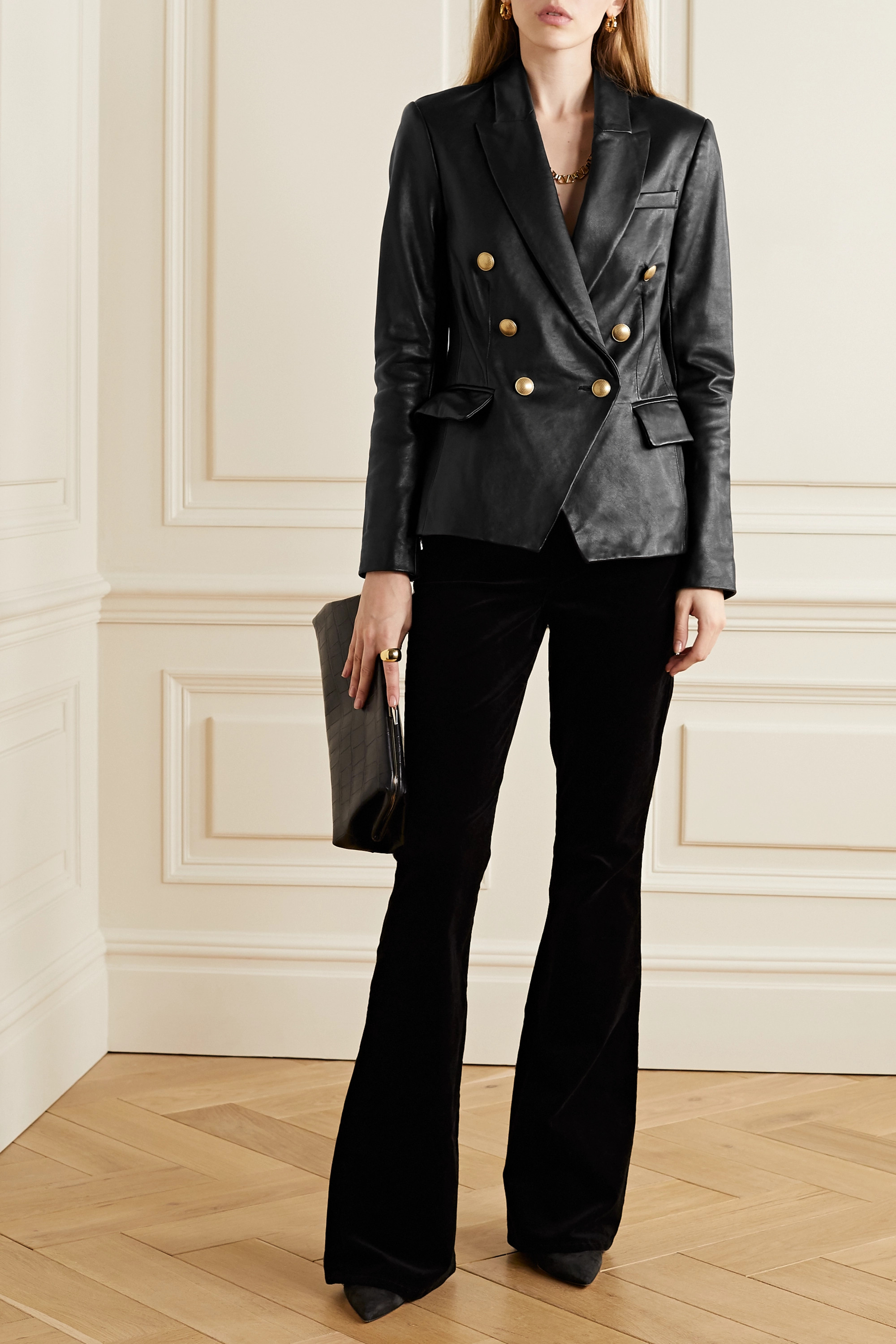 L'Agence Kenzie double-breasted leather blazer
