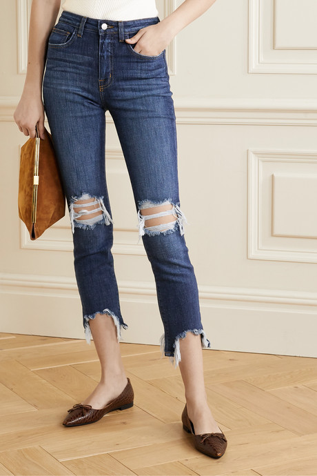 High Line cropped distressed high-rise skinny jeans