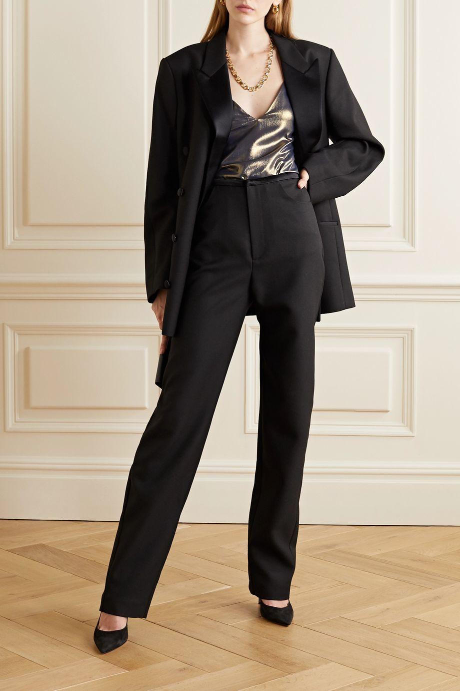 L'Agence Gabriella metallic crepe de chine camisole