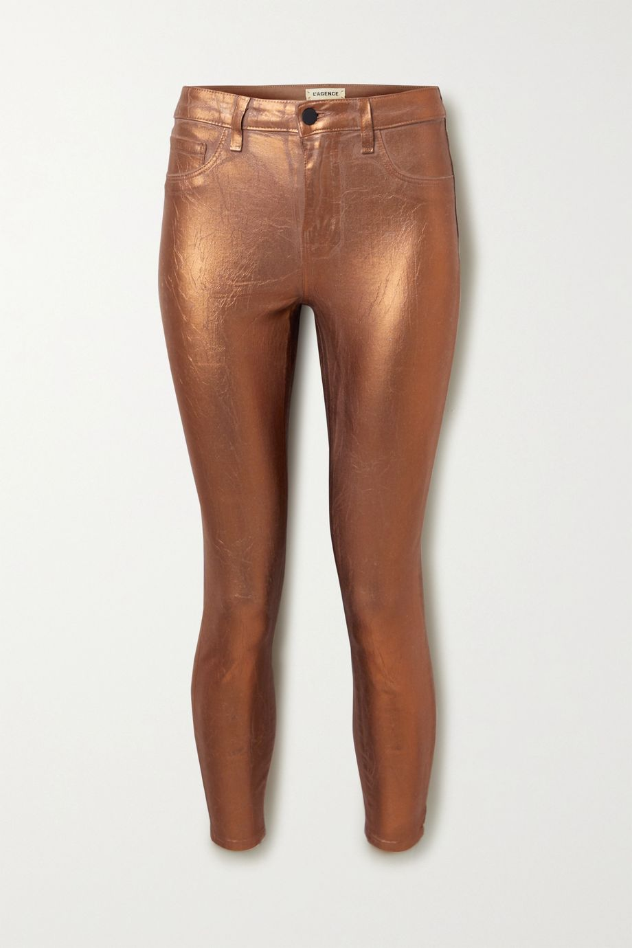 L'Agence Margot cropped metallic coated high-rise skinny jeans