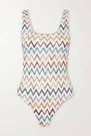 Missoni Mare metallic picot-trimmed crochet-knit swimsuit
