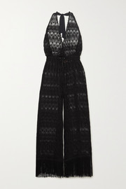 Missoni Mare cropped fringed metallic crochet-knit halterneck jumpsuit