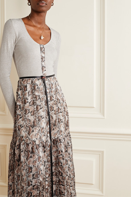 Pollie belted ribbed-knit and snake-print silk-blend chiffon maxi dress
