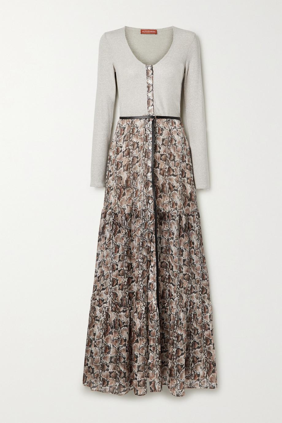 Altuzarra Pollie belted ribbed-knit and snake-print silk-blend chiffon maxi dress