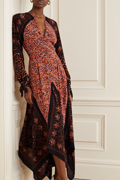 Northwest paneled floral-print silk crepe de chine dress