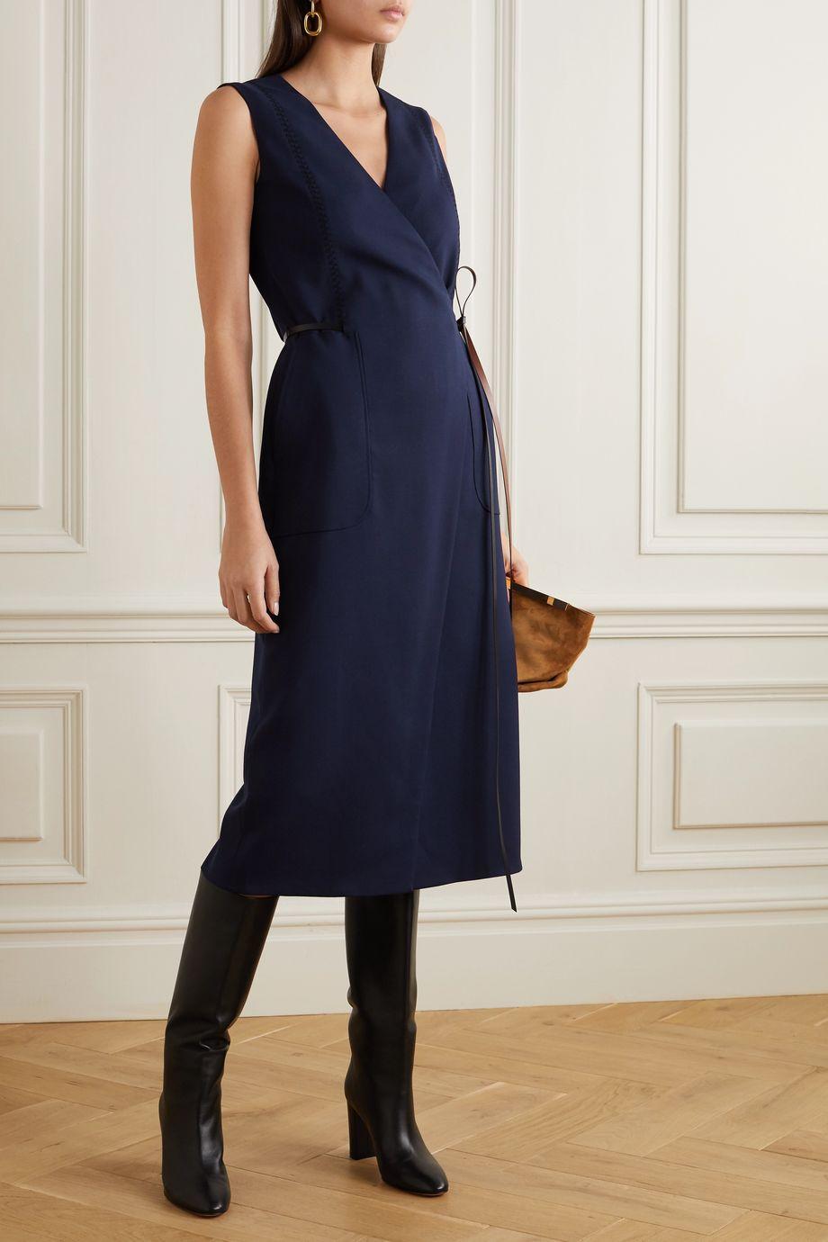 Altuzarra Cather leather-trimmed stretch-wool wrap midi dress