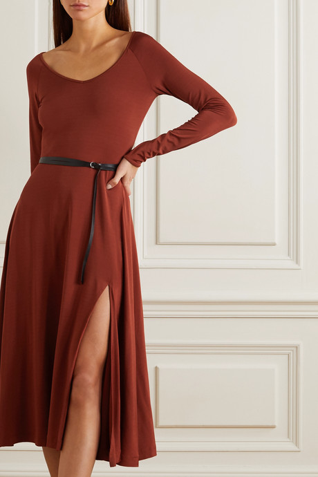 Phoebe belted satin-jersey midi dress