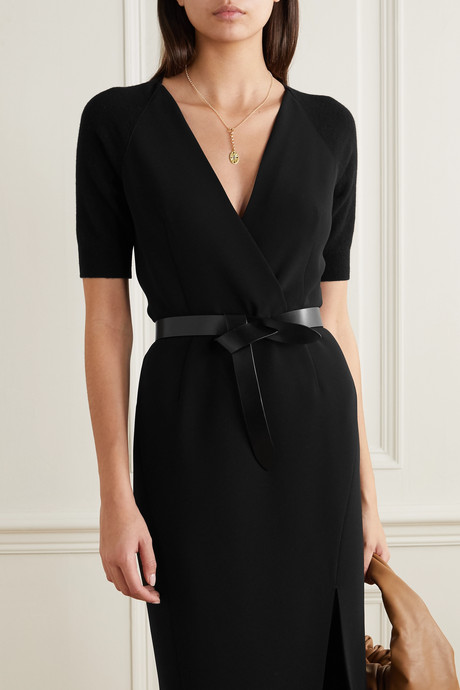 Carolina crepe and wool and cashmere-blend dress