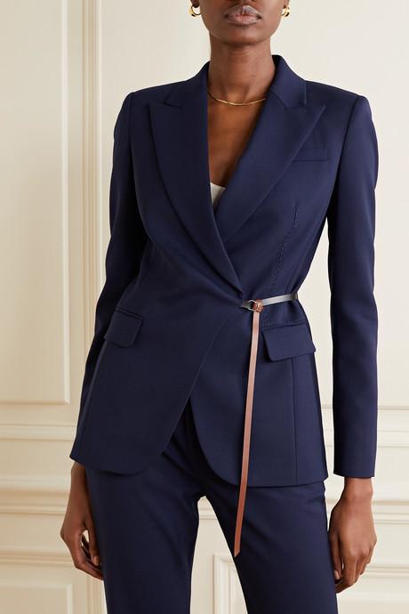 Irving belted wool-blend blazer