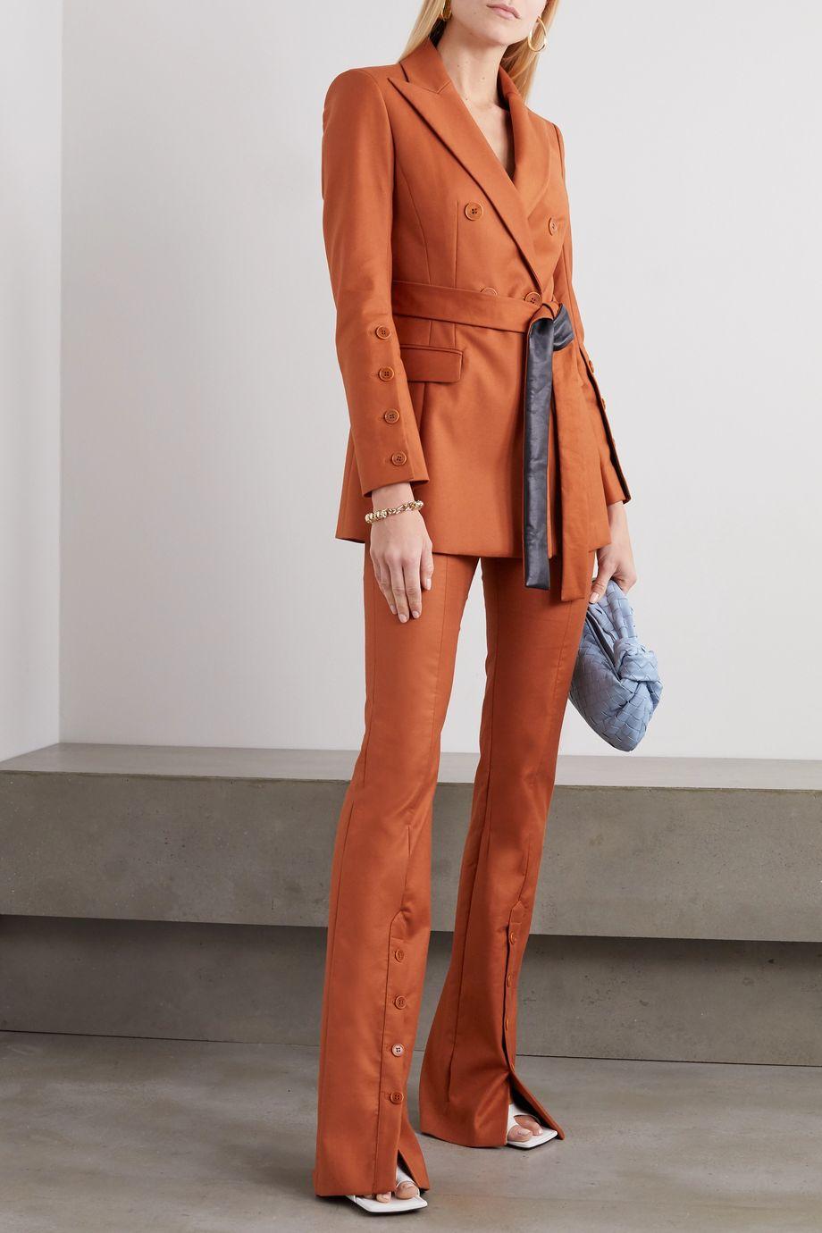 Altuzarra Olivisi belted double-breasted cotton-blend blazer