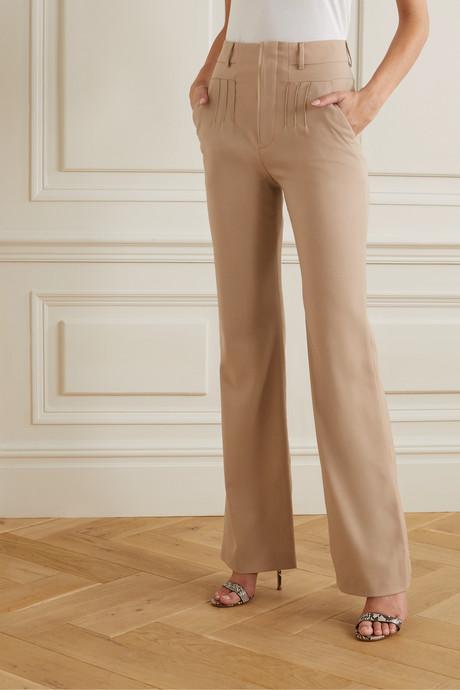 Zeke grain de poudre wool-blend flared pants