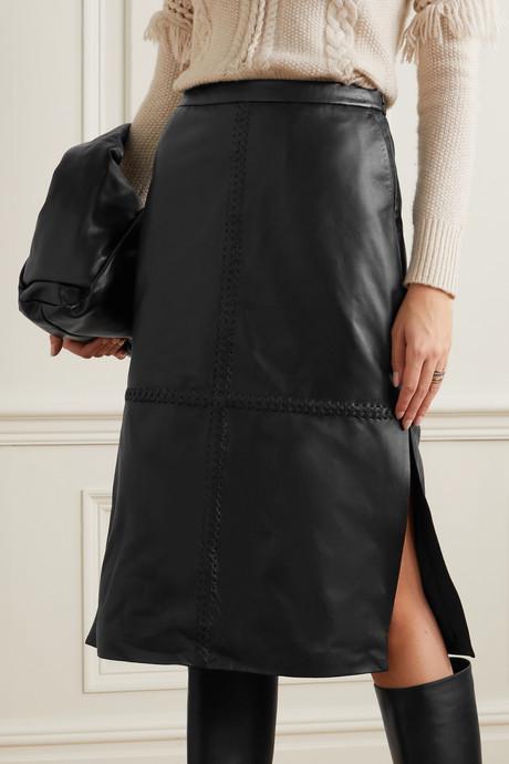 Mooney whipstitched leather midi skirt
