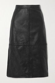 Altuzarra Mooney whipstitched leather midi skirt