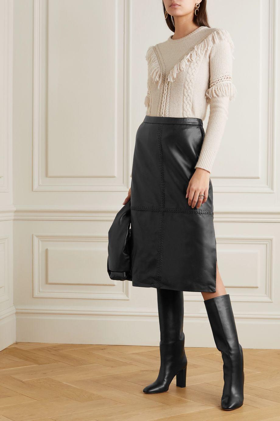 Altuzarra Mooney whipstitched leather midi skirt