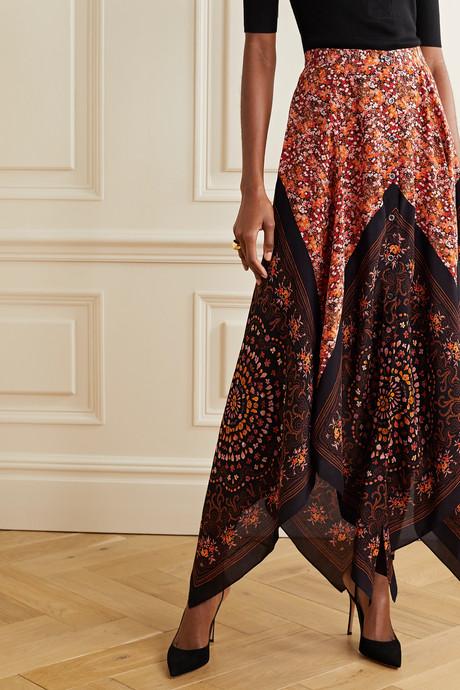 Hance asymmetric floral-print silk crepe de chine maxi skirt