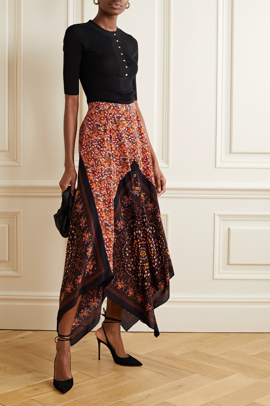 Altuzarra Hance asymmetric floral-print silk crepe de chine maxi skirt