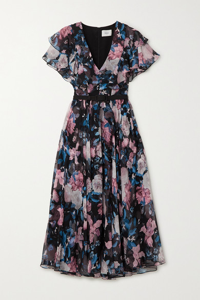 Garland belted floral print silk chiffon midi dress