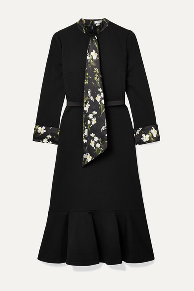 Erdem Dresses Hilma belted floral-print satin-trimmed stretch-ponte midi dress