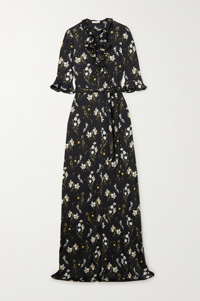Erdem FARRELL BELTED RUFFLED FLORAL-PRINT JERSEY GOWN