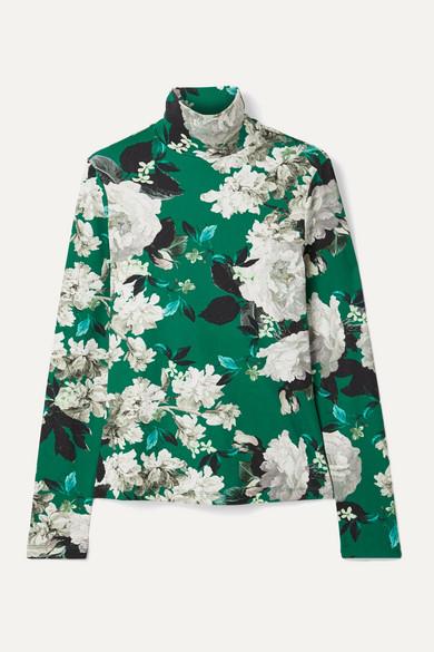 Erdem Tops Kelly floral-print ribbed stretch-jersey turtleneck top