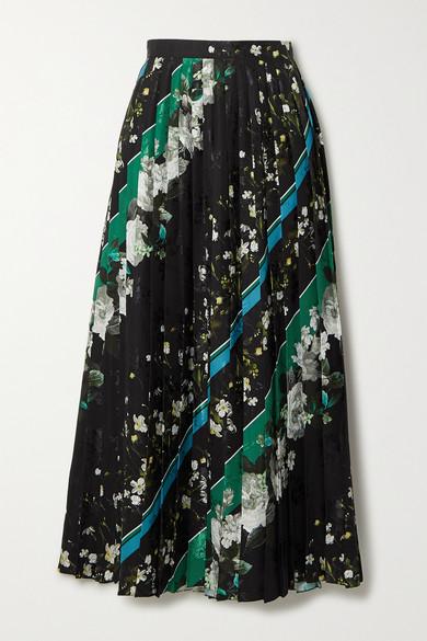 Nolana Pleated Printed Floral Jacquard Midi Skirt by Erdem