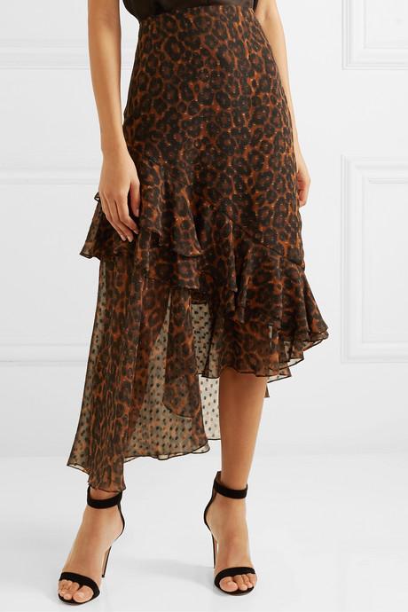 Antoinette asymmetric leopard-print fil coupé silk-chiffon skirt