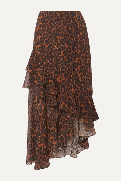 Erdem Skirts Antoinette asymmetric leopard-print fil coupé silk-chiffon skirt