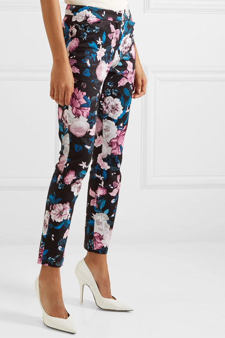 Sidney floral-print cotton-blend slim-leg pants