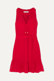 Ruffled silk crepe de chine mini dress
