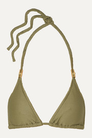 Ribbed triangle bikini top