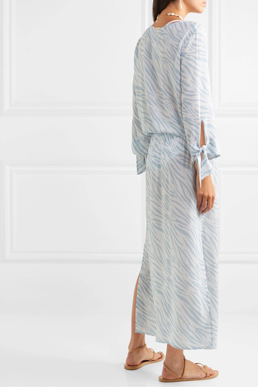 Heidi Klein Shirred zebra-print voile maxi dress