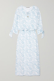 Shirred zebra-print voile maxi dress