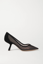 Lexi suede-trimmed embroidered tulle pumps