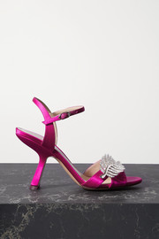Monstera crystal-embellished satin sandals