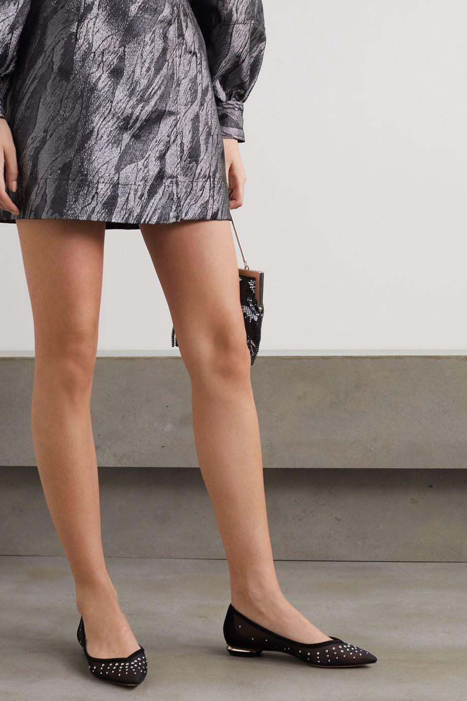 Nicholas Kirkwood Lexi suede-trimmed crystal-embellished mesh point-toe flats