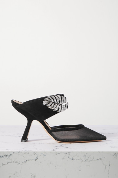 Monstera Crystal Embellished Suede And Mesh Mules by Nicholas Kirkwood