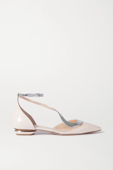 S Ballerina Two Tone Patent Leather And Pvc Point Toe Flats by Nicholas Kirkwood
