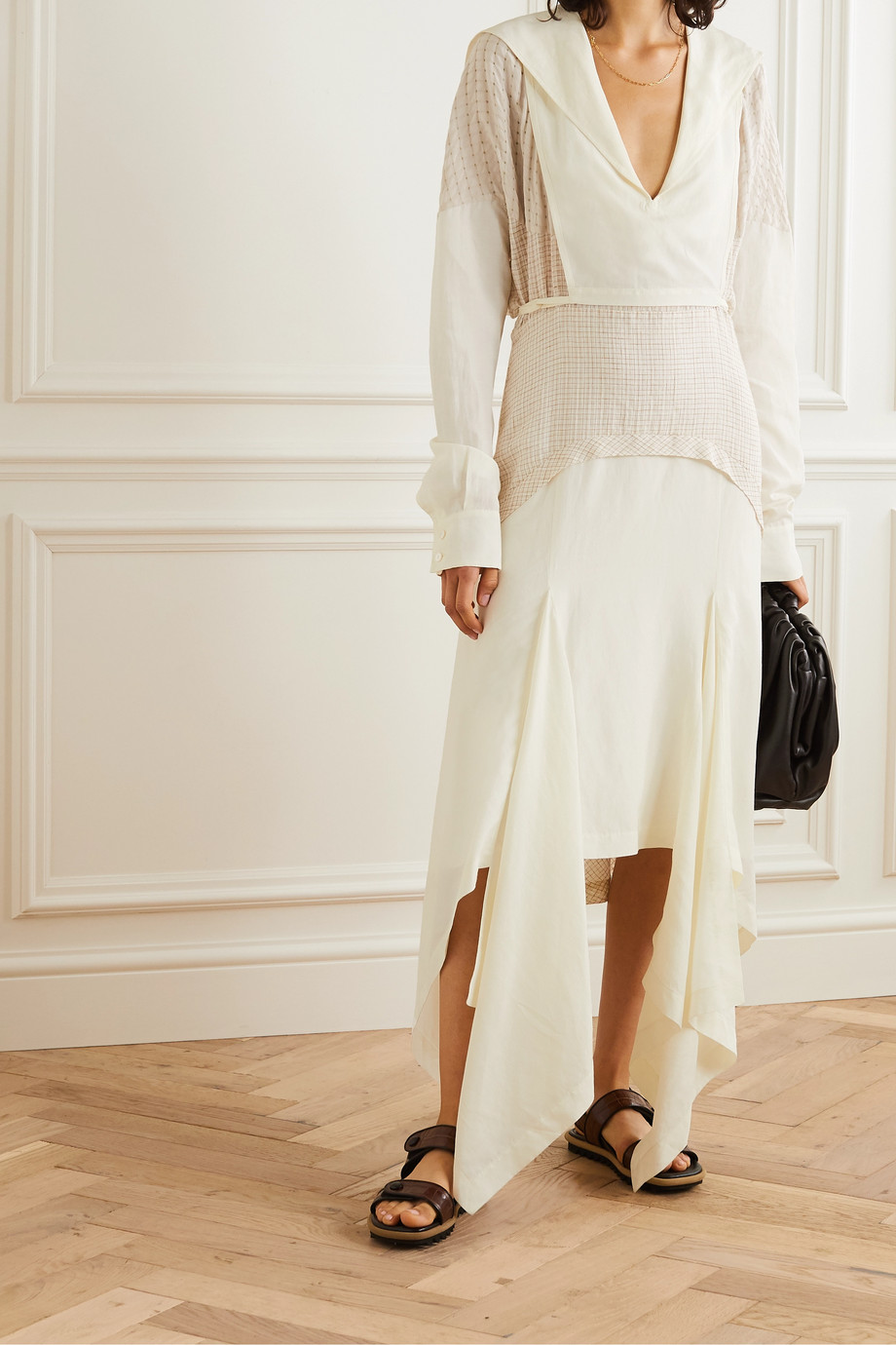 Lanvin Asymmetric paneled checked gauze and linen-blend midi dress