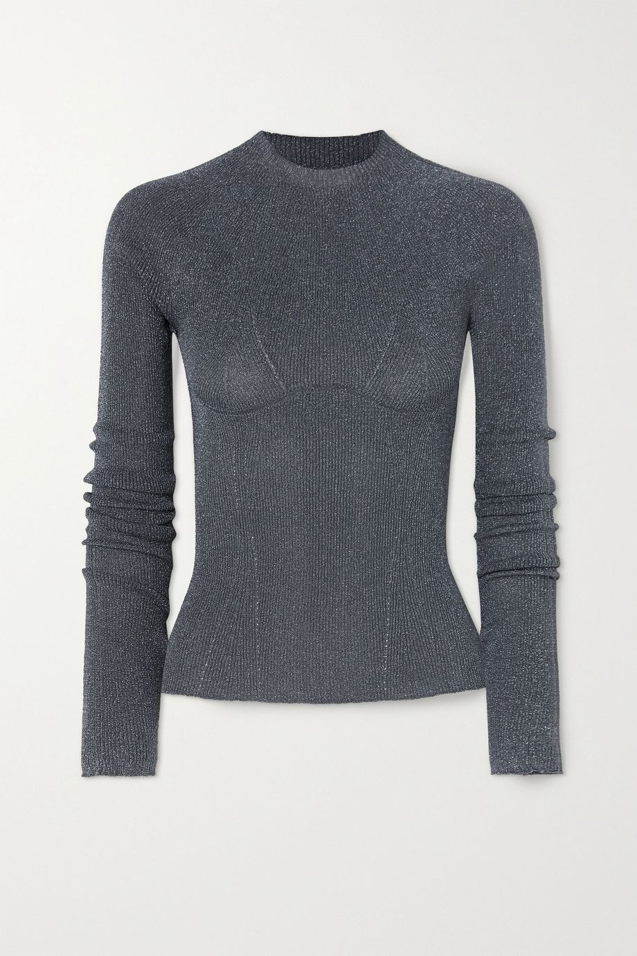 Lanvin Metallic ribbed-knit sweater