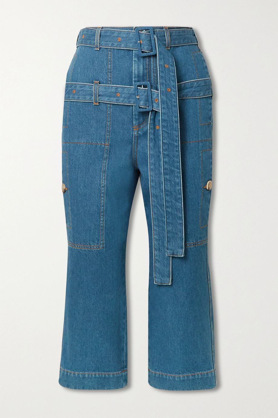 Lanvin Belted cropped high-rise straight-leg jeans