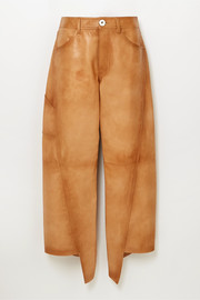 Lanvin Asymmetric cropped leather straight-leg pants