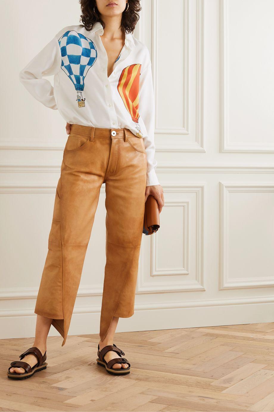Lanvin Asymmetric cropped leather straight-leg pants