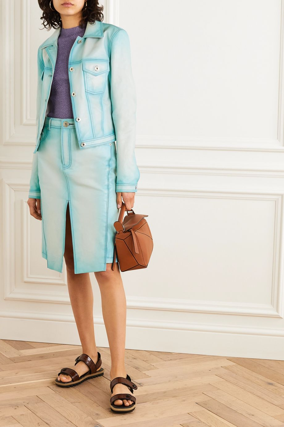 Lanvin Asymmetric leather skirt